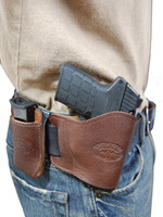 brown leather yaqui holster and magazine pouch combination