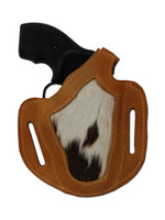 """Saddle Tan Leather Hair on Hide Inlay Pancake Holster for .22 .38 .357 2"""" Snub Nose Revolvers"""