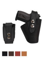 Leather OWB Holster + Single Magazine Pouch for Mini .22 .25 .32 .380 Pistols