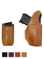 Leather OWB Holster + Single Magazine Pouch for Compact Sub-Compact 9mm 40 45 Pistols