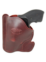 "Burgundy Leather Ambidextrous Pocket Holster for 2"", Snub-Nose .38 .357 Revolvers"