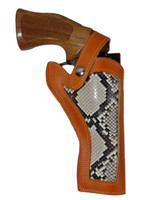 "Saddle Tan Leather Python Snake Skin Inlay Western Style Holster for 4"" Revolvers"