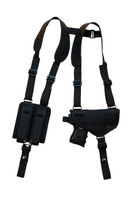 Ambidextrous Horizontal Shoulder Holster with Magazine Pouch for Compact 9mm 40 45 with LASER