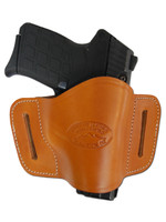 Saddle Tan Leather Quick Slide Holster for .380 Ultra Compact 9mm .40 .45 Pistols with LASER