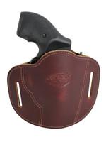 "Burgundy Leather Pancake Belt Slide Holster for 2"" Snub Nose Revolvers"