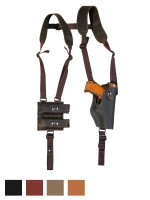 Leather Vertical Shoulder Holster with Magazine Pouch for Compact 9mm 40 45 Pistols
