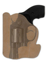 """Natural Tan Leather Ambidextrous Pocket Holster for 2"""", Snub Nose .38 .357 Revolvers"""