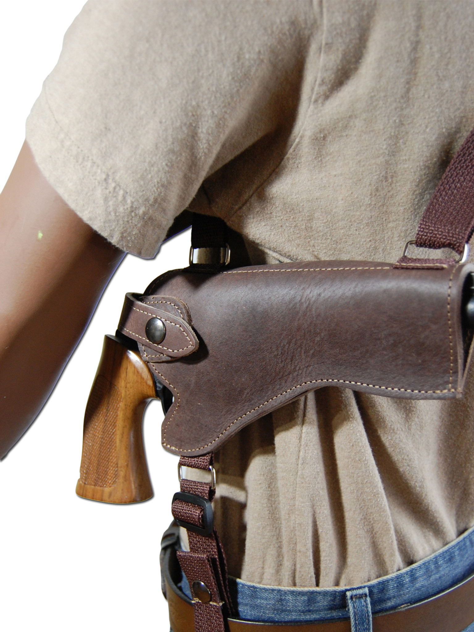 Brown Leather Horizontal Shoulder Holster with Speed-loader