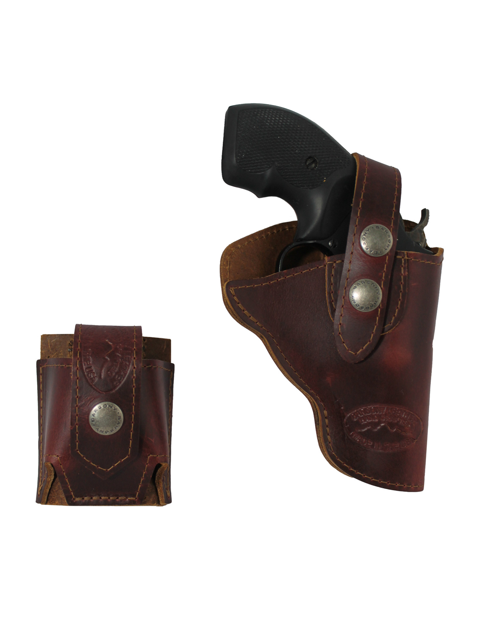 Burgundy Leather OWB Holster + Speed-loader Pouch for Snub
