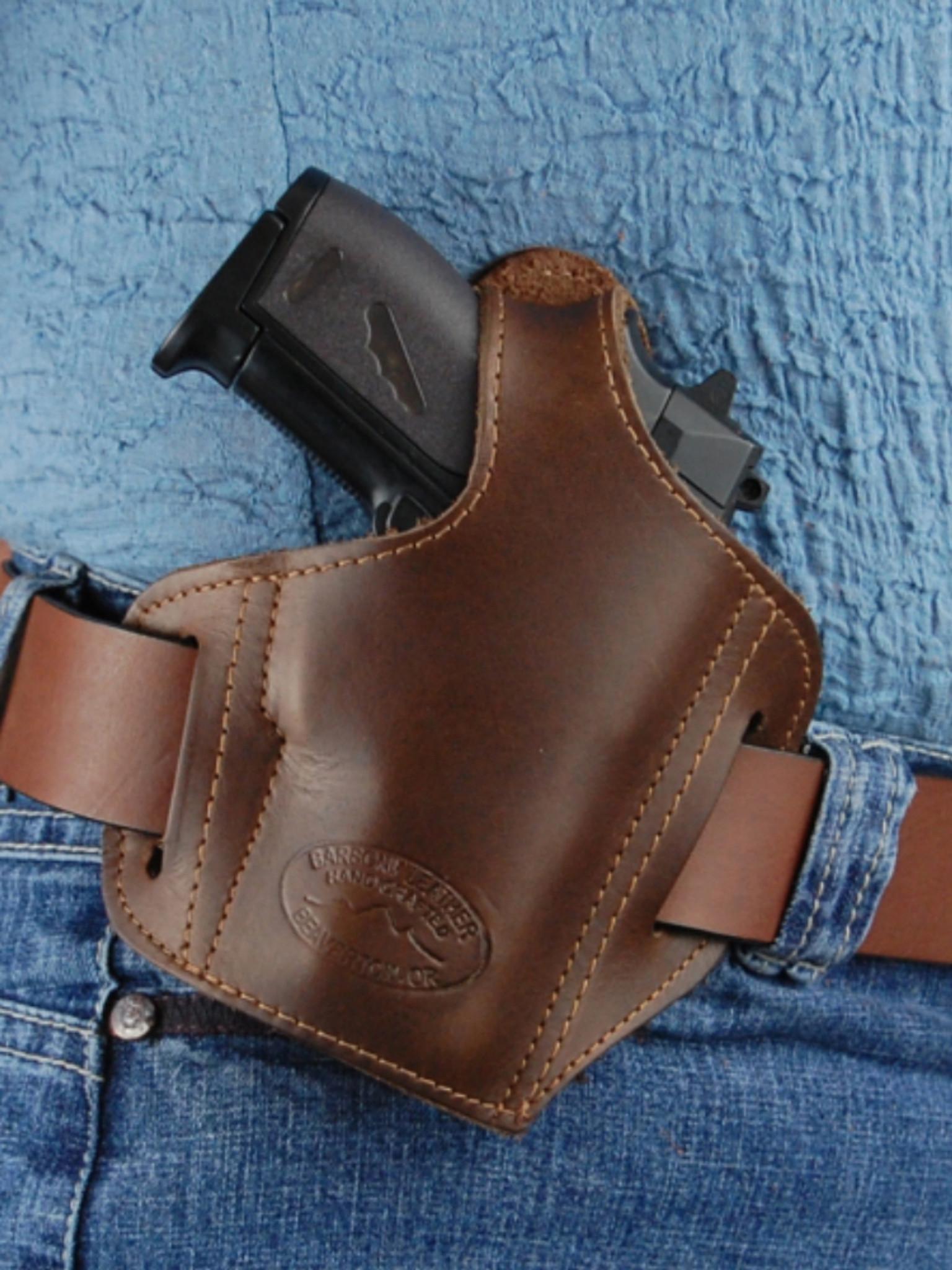 New Barsony Black Leather Gun Pocket Holster Smith /& Wesson Small Mini 22 25 380
