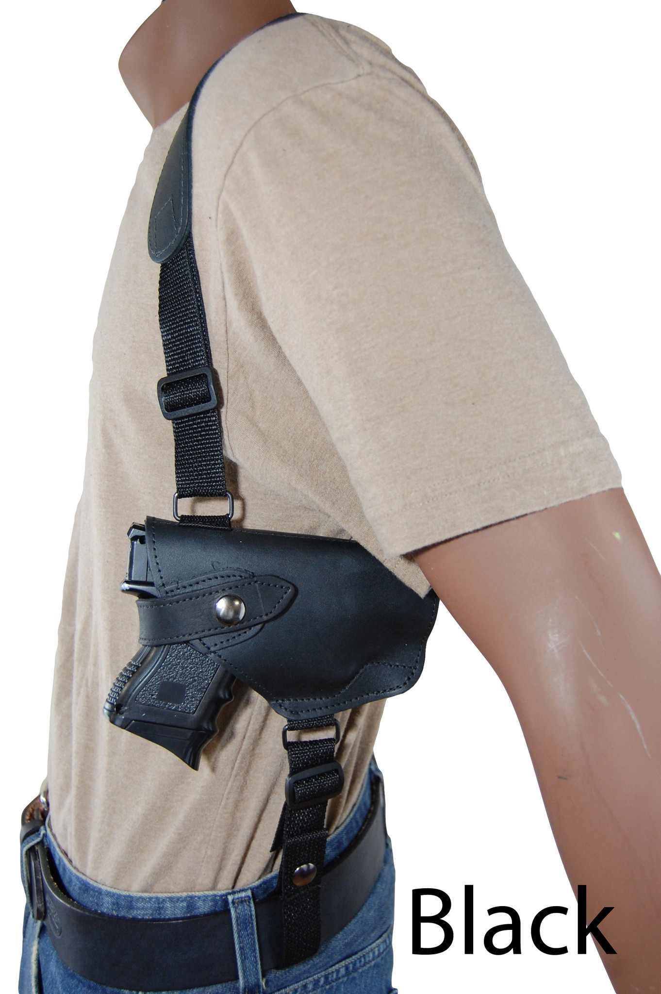 Leather Horizontal Shoulder Holster for Compact 9mm 40 45