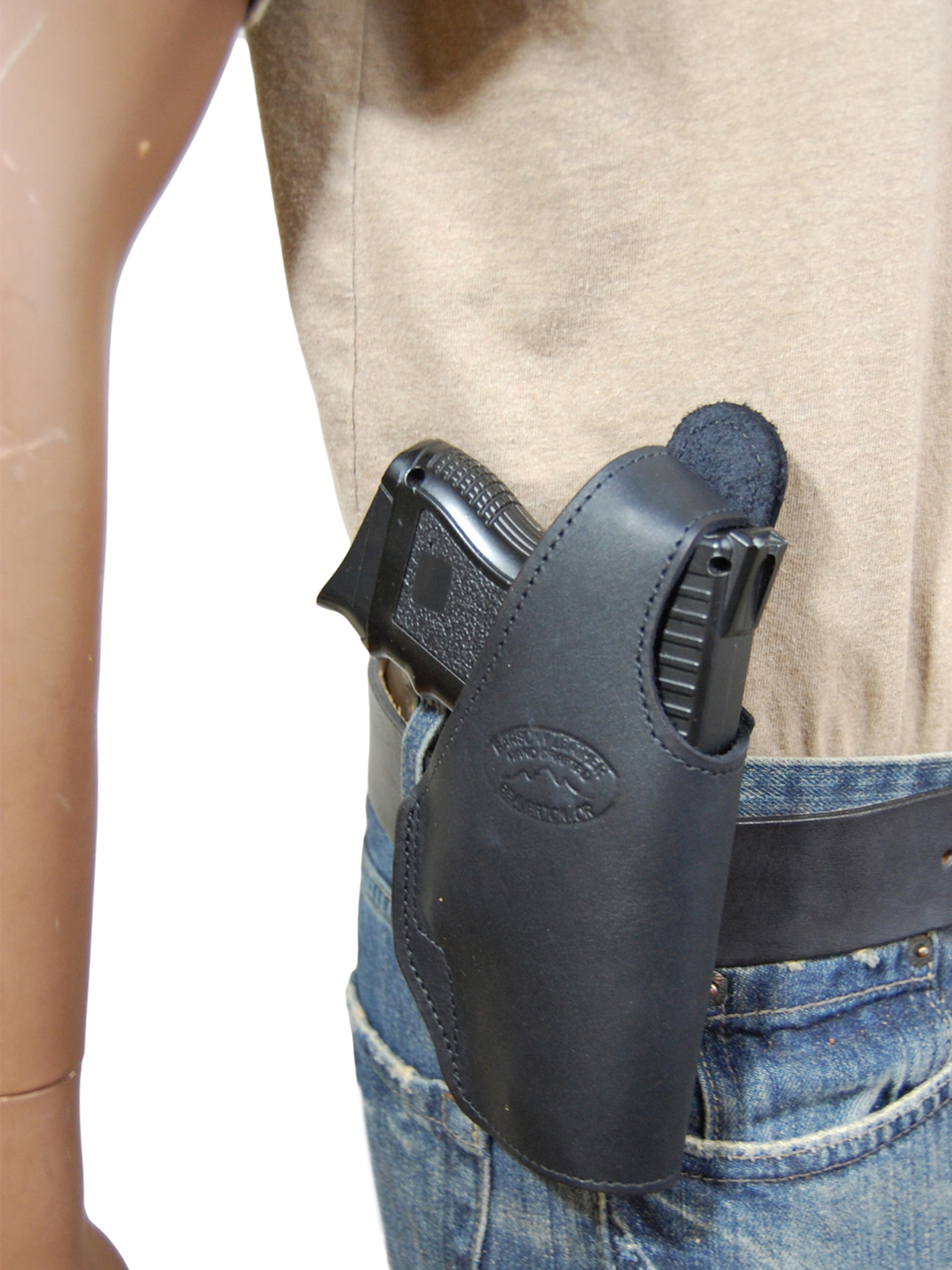 Black Leather OWB Holster for Compact Sub-Compact 9mm 40 45