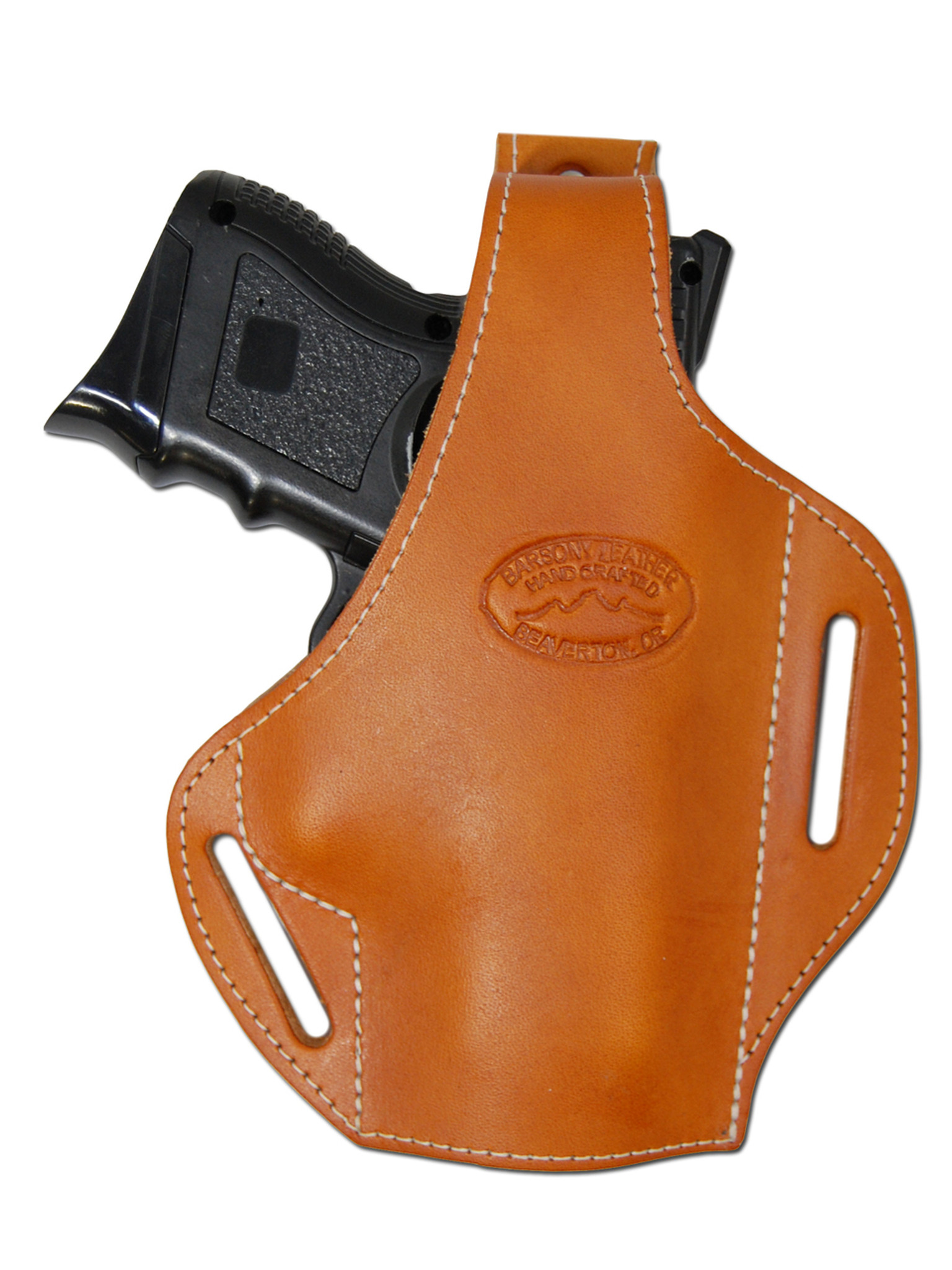 Saddle Tan Leather Pancake Holster for Compact Sub-Compact
