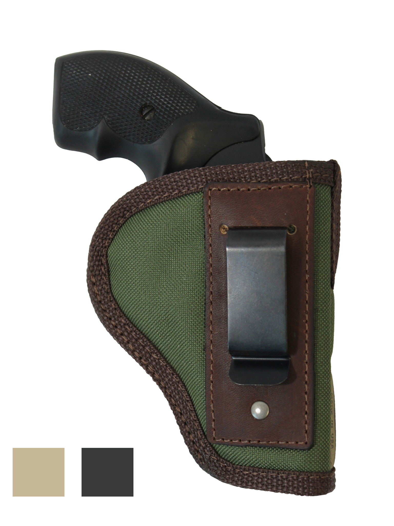 Colt Agent Revolver 2 Clip IWB Leather Concealed Carry Holster CCW BLACK RH
