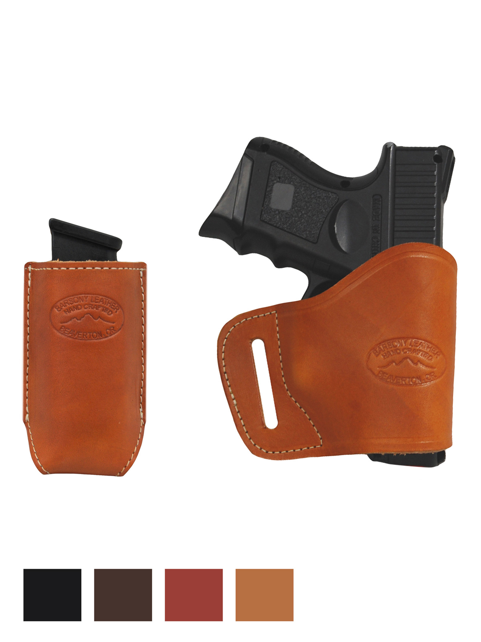 NEW Barsony Tan Leather Double Magazine Pouch for CZ EAA Compact 9mm 40 45