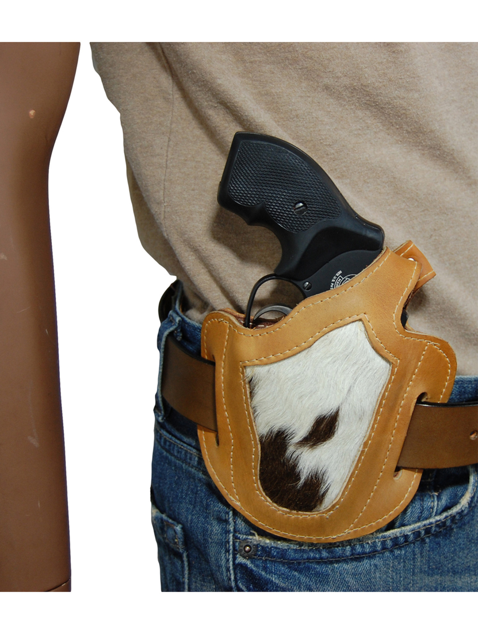 Saddle Tan Leather Hair on Hide Inlay Pancake Holster for