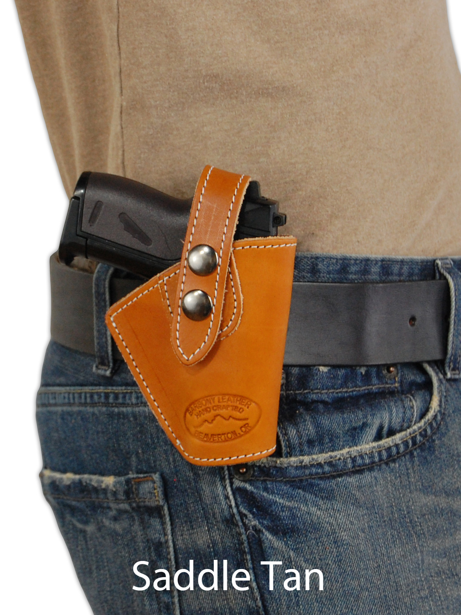 Leather OWB Belt Holster + Single Magazine Pouch for Mini
