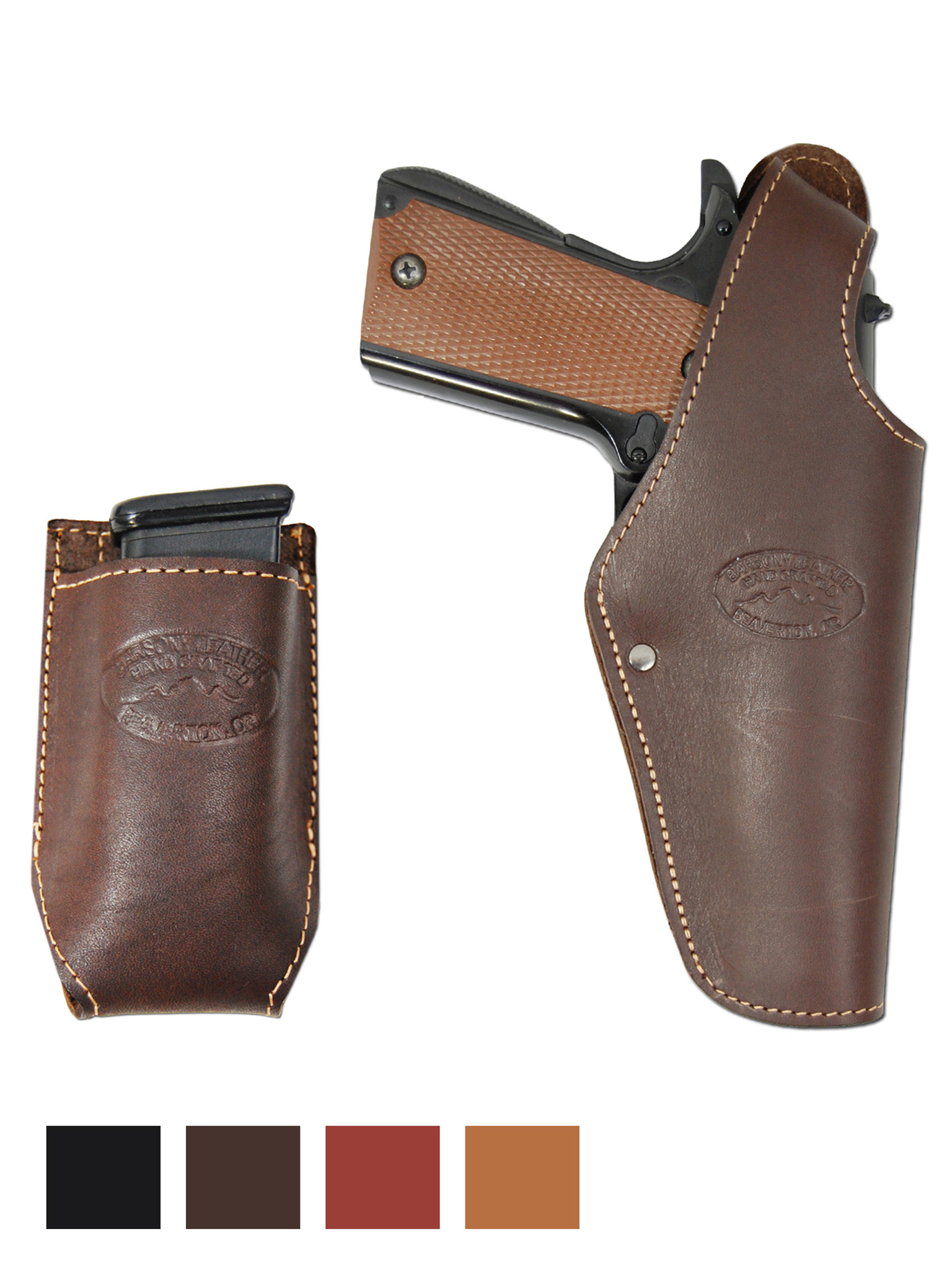 New Black Leather Pancake Gun Holster Dbl Mag Pouch Taurus Full Size 9mm 40 45