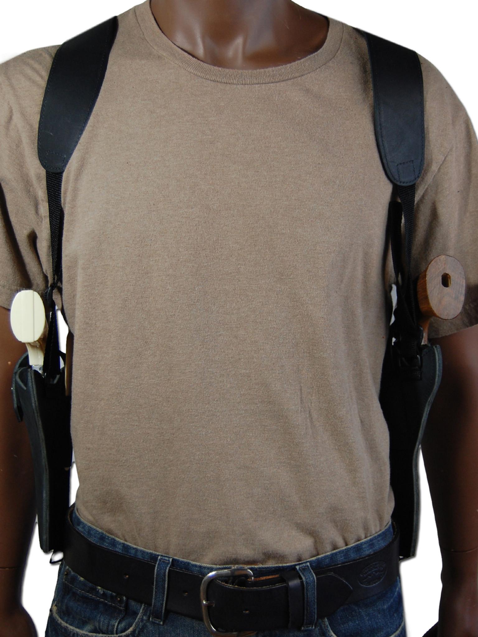 Black Leather 2 Gun Shoulder Holster for 3
