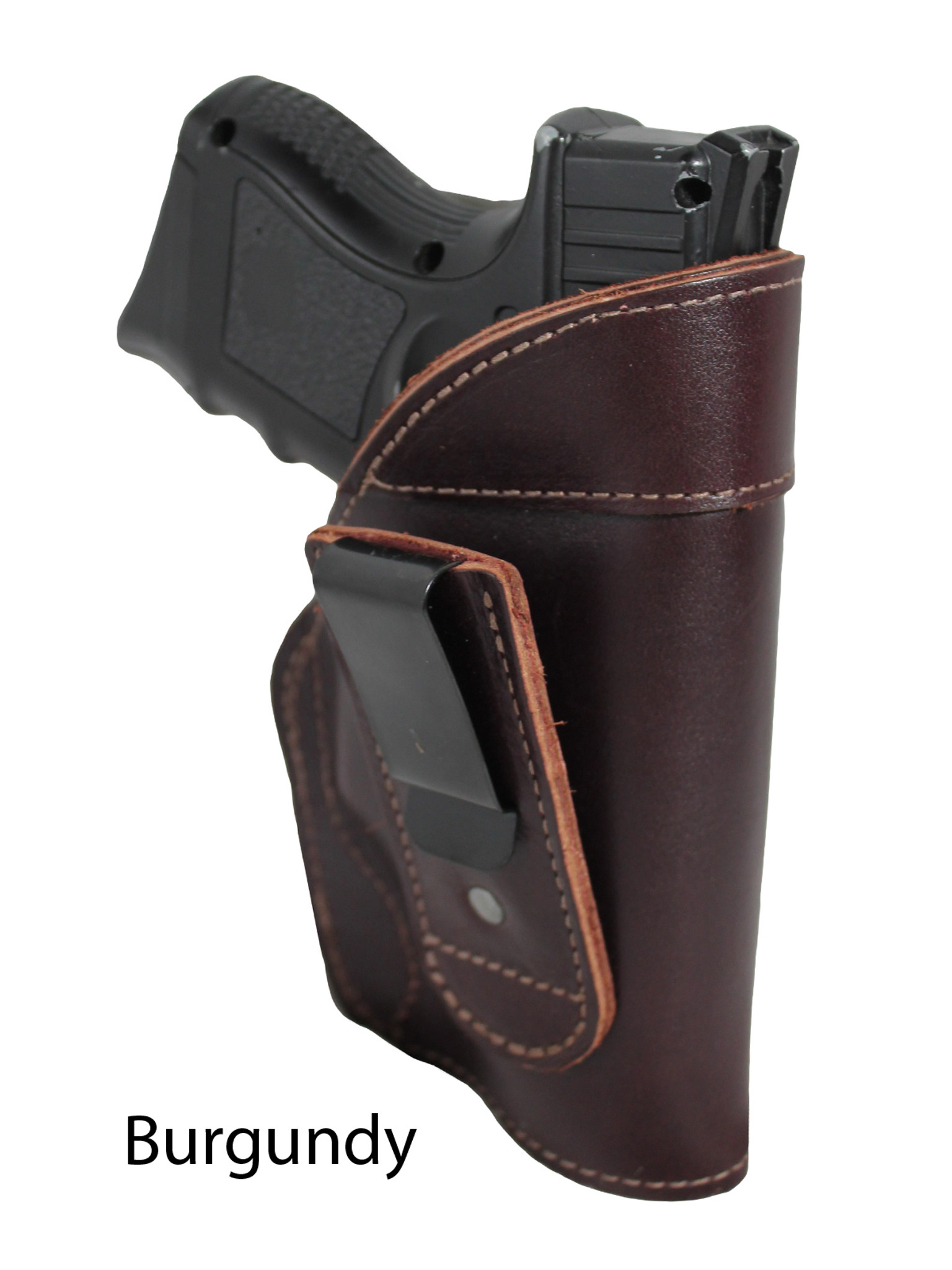 Brown Leather Tuckable Holster for Compact Sub-Compact 9mm