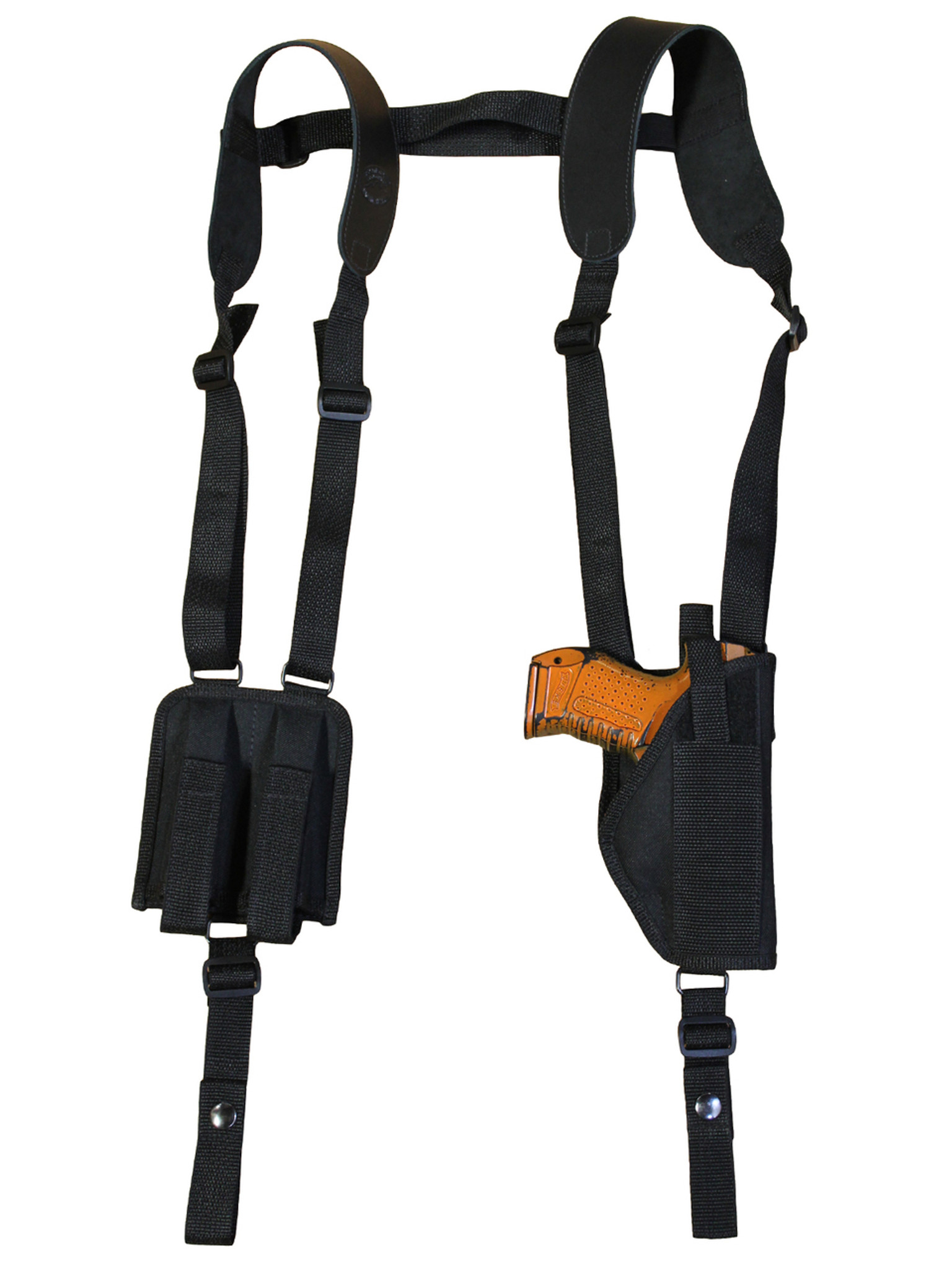 Vertical Shoulder Holster with Double Magazine Pouch for