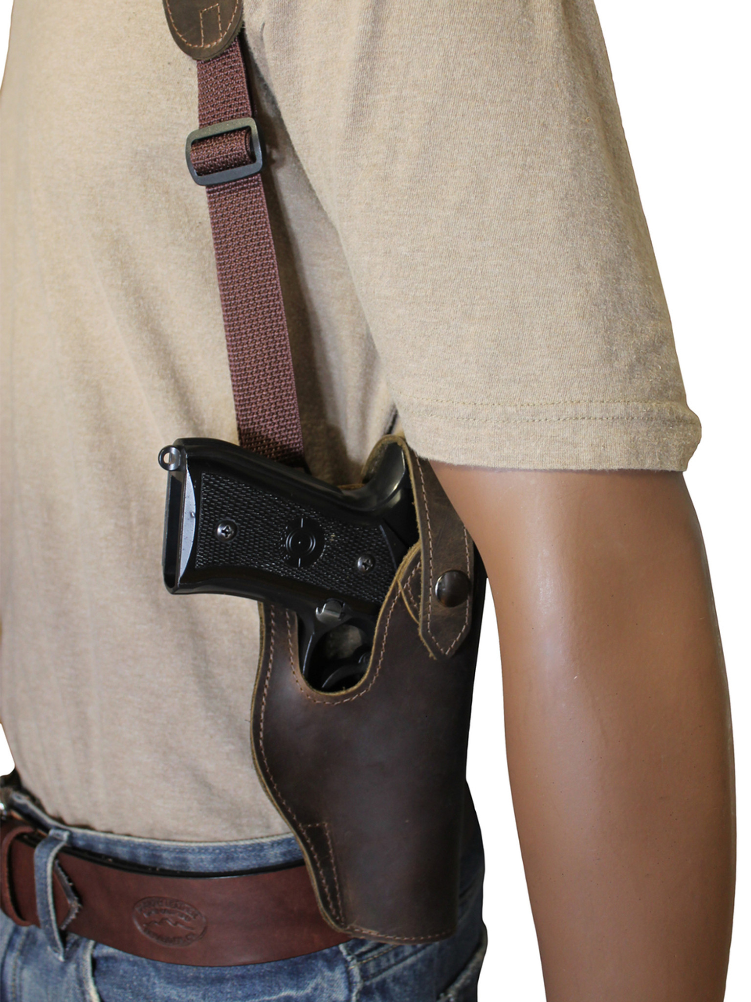 Leather Vertical Shoulder Holster with Magazine Pouch Full