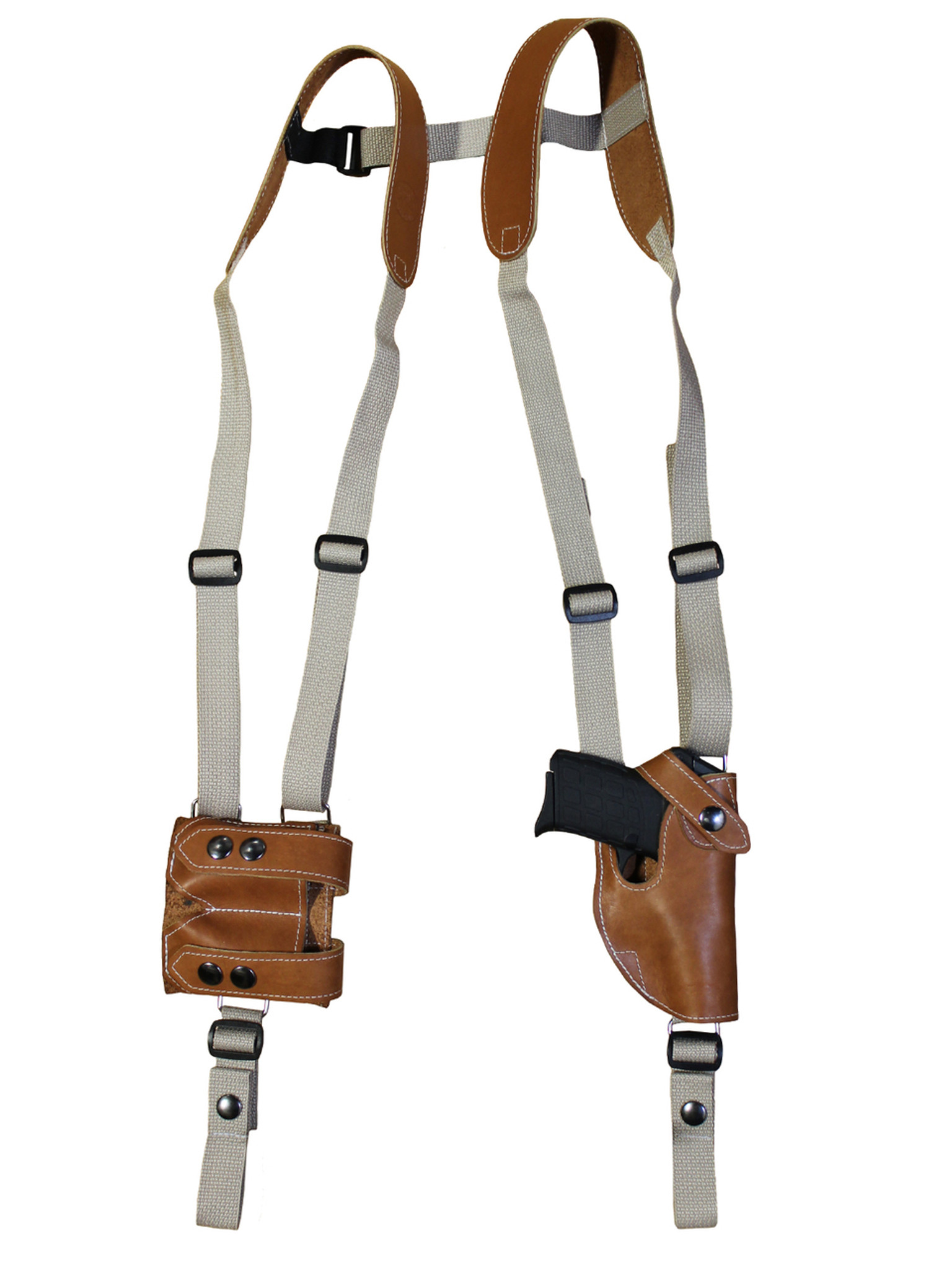 Saddle Tan Leather Vertical Shoulder Holster with Magazine Pouch for