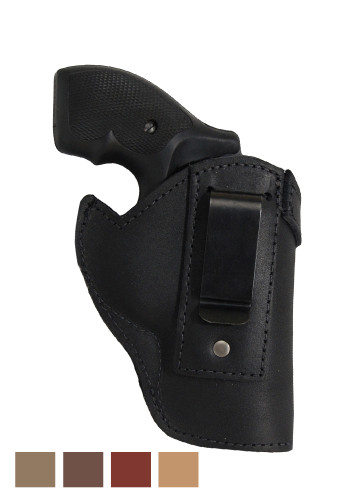 "Black Leather Inside the Waistband Holster for 2"" Snub Nose .38 .357 Revolvers"