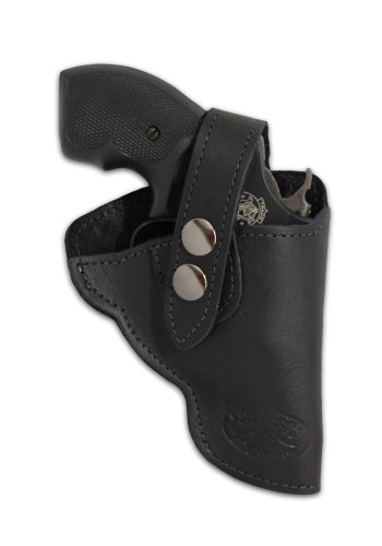 "Black Leather Outside the Waistband (OWB) Holster for Snub Nose 2"" 22 38 357 41 44 Revolvers"