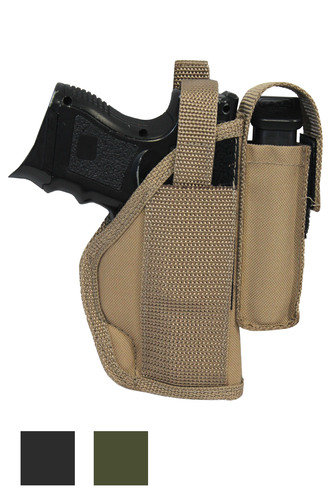 Belt Holster with Magazine Pouch for Compact Sub-Compact 9mm 40 45 Pistols - available in black, desert sand and woodland green
