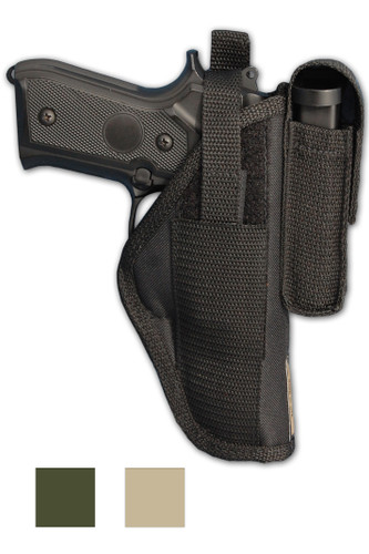 Outside the Waistband Holster with Magazine Pouch for Full Size 9mm 40 45 Pistols - available in black, desert sand and woodland green
