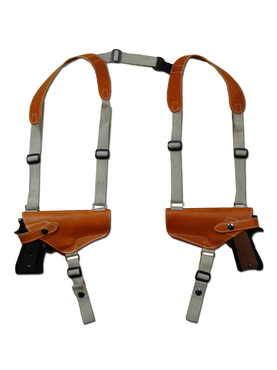 Saddle Tan Leather 2 Gun Shoulder Holster for 9mm 40 45 Pistols
