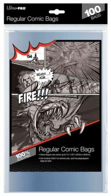 """Ultra Pro Regular Modern Size Comic Book Storage Bags 7 1/8"""" x 10 1/2"""" (100 Count Pack)"""