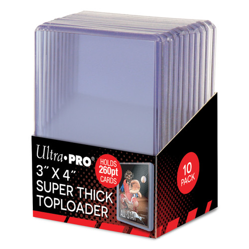 """Ultra Pro Super Thick 260pt Toploaders (10 Count Pack) 3"""" x 4"""" Trading Card Holders"""