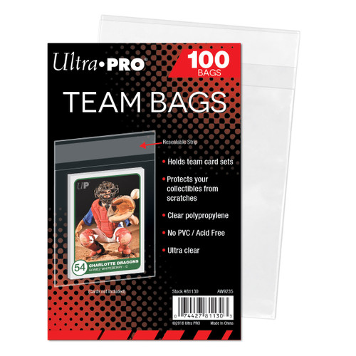 Ultra Pro Team Bags (100 Count Pack) Resealable Team Set Bags For Trading Cards