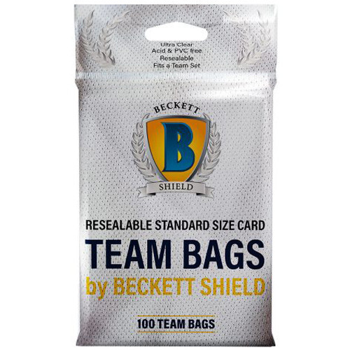 (Pack of 100) Beckett Shield Resealable Team Set Bags For Trading / Gaming Cards