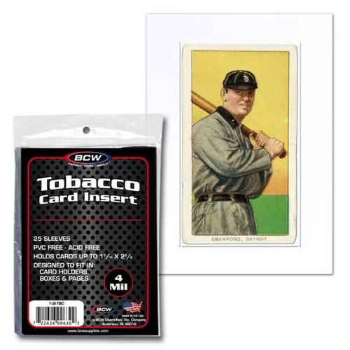 BCW Tobacco Card Insert Sleeve (25 Count Pack) Converts Standard Card Holders