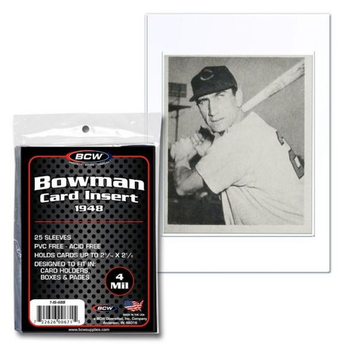 BCW 1948 Bowman Card Insert Sleeve (25 Count Pack) Converts Standard Card Holders