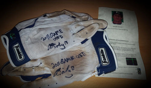 Adam Bailey Corpus Christi Hooks 2011 Game Used Autographed Batting Gloves