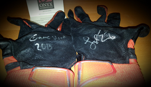 Skyler Ewing 2015 Game Used Autographed Batting Gloves Onyx COA Missions/Brewers