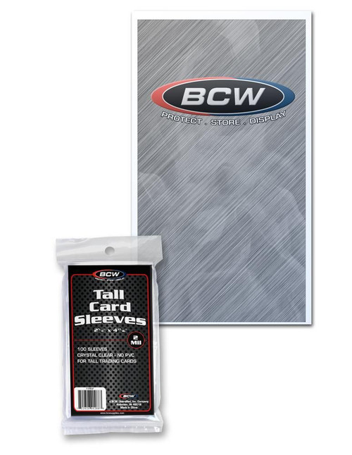 BCW Tall Soft Sleeves (100 Count Pack) For Tall or Widevision Trading Cards
