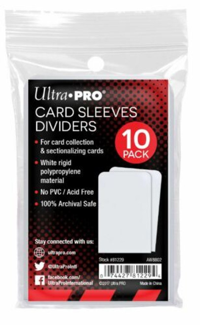 Ultra Pro Taller Trading Card Sleeves Dividers (Pack of 10) Fits Card Storage Boxes
