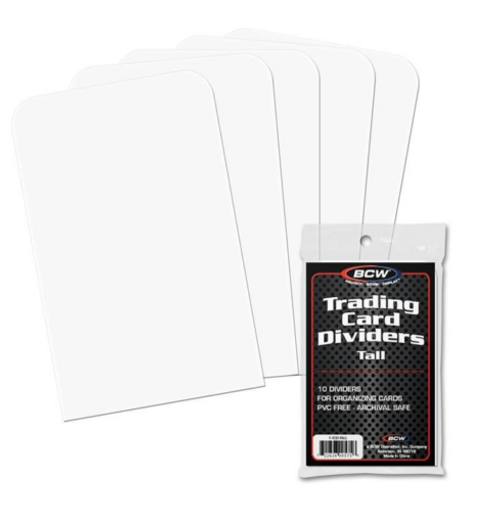 BCW Tall Trading Card Dividers (Pack of 10) Tall For Visibility - Sits Above Toploads