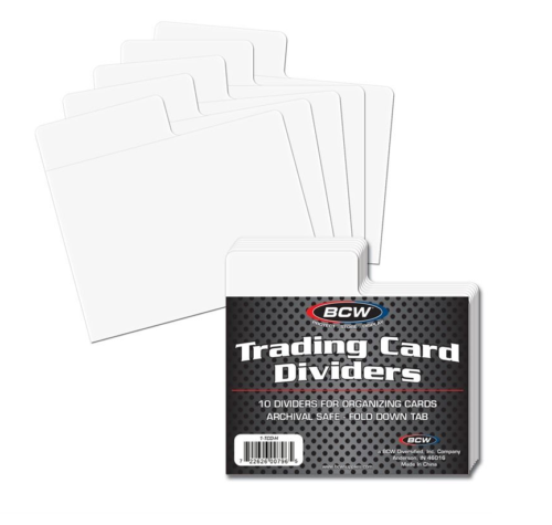 BCW Horizontal Trading Card Dividers (Pack of 10) Fits Single Row Card Storage Boxes