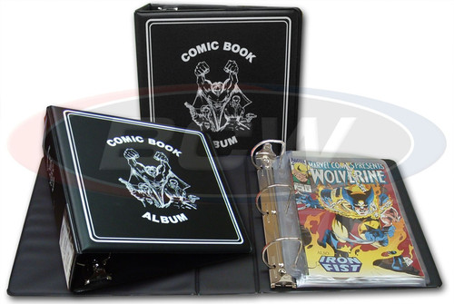 """BCW 3"""" Comic Book Collector's Album (Black) 3 Ring Binder Holds Pocket Pages"""