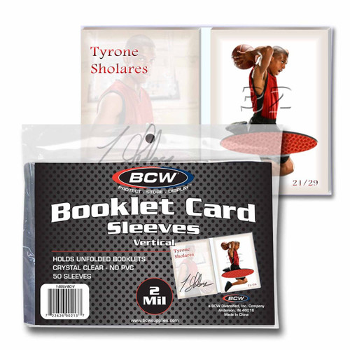 BCW Vertical Booklet Card Sleeves (50 Count Pack) For Book Size Trading Cards