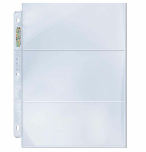 """Ultra Pro 3-Pocket Platinum Currency or Ticket 3-1/2"""" X 7-1/2"""" Album Page"""