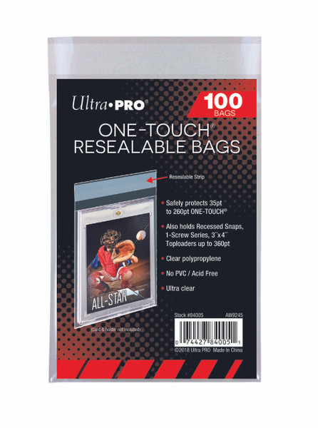 Ultra Pro One-Touch Resealable Bags (100 Count Pack) Holds Trading Cards, One Touches, Toploaders