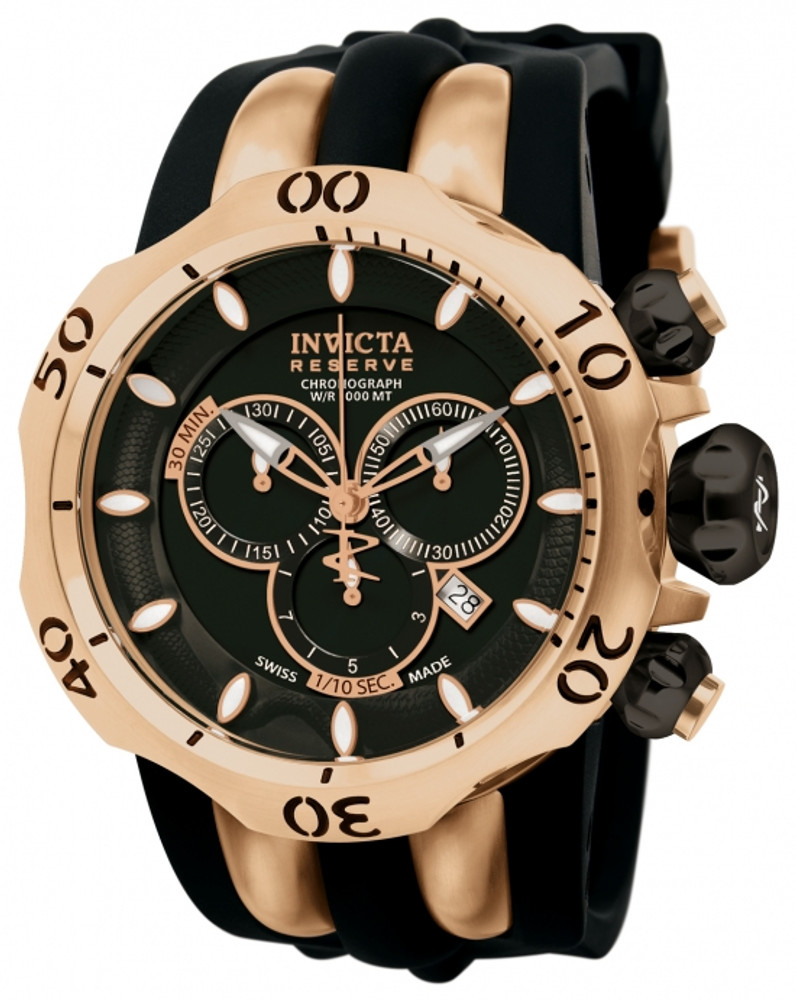 Invicta 10830 Reserve Men's Venom Fang Swiss Quartz Chronograph Black & Rose Gold Polyurethane Strap Watch | Free Shipping