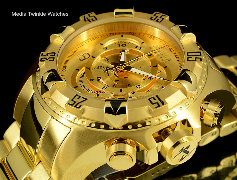Invicta 14473 Reserve Excursion Swiss Quartz Chronograph Gld Dial All Gold Plated Stainless Steel | Free Shipping